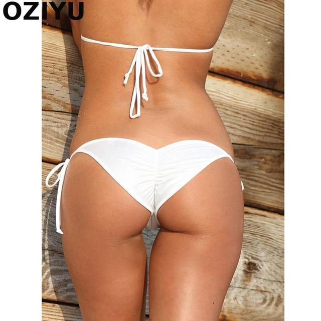 ac4d35c1273aa 2018 New Semi brazilian Women s Sexy Solid Mini Tie-side Thong Bikini  Bottom biquini moda de praia Micro bikini White String
