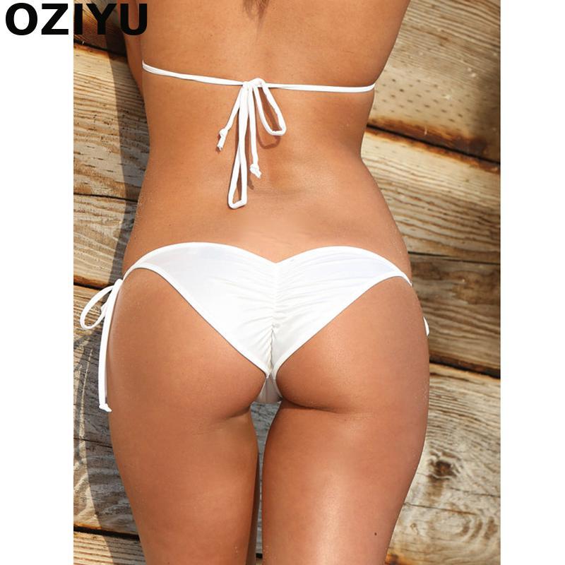 2018 Novo Semi brasileiro Tanga das Mulheres Sexy Sólidos Mini-Tie side Bikini Bottom biquini moda de praia Micro biquíni Branco Corda