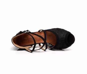 Women Ballroom Latin Dance Shoes Black Red Salsa Tango Bachata Dance Shoes Heels 5/6/7.5/8.5cm Suede Sole VA20