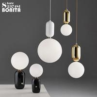 Nordic style fashion led pendant lights hanging lights Bar office restaurant bedroom Glass Ball cord pendant light modern Simple