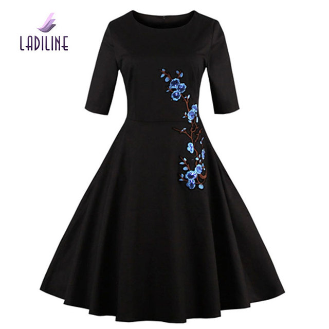 US $21.25 |LADILINE 80S 90S High Quality Summer Plus Size Long Women Dress  Elegant Cotton Vintage Dress Embroidery Fashion Dress YHT1333-in Dresses ...