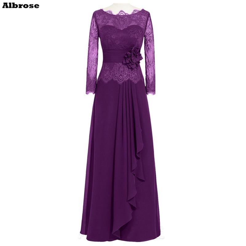 Mergelė nuotakos suknelės violetinė nėriniai ilgomis rankovėmis - Ypatinga proga suknelės