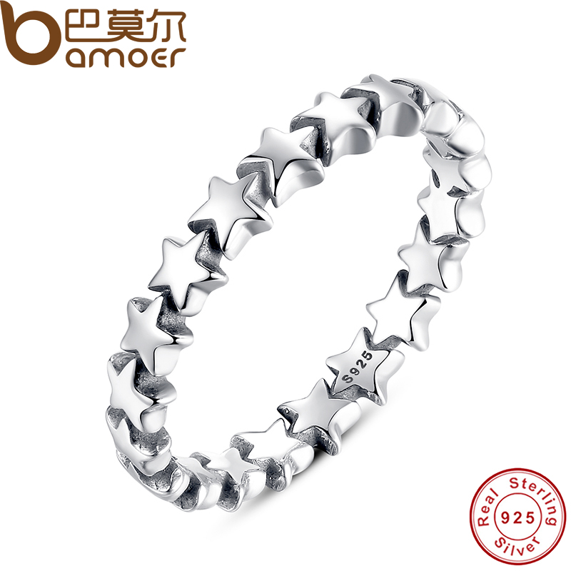BAMOER Star Trail Stackable Finger Ring For Women Wedding 100% 925 Sterling..