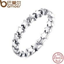 Stackable звездный bamoer след коллекция стерлингового серебра палец свадьба изделий новая