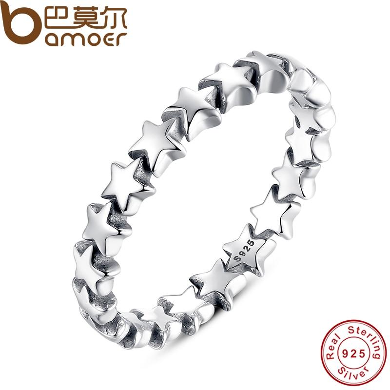Bamoer Star Trail стекируемые палец кольцо для Для женщин свадебные 100% 925 стерлингового Серебряные ювелирные изделия 2018 Лидер продаж pa7151