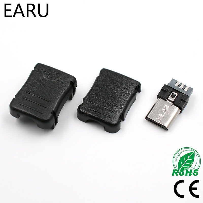 10pcs Micro USB 5 Pin T Port Male Plug Socket Connector with Plastic Cover for DIY Dropshipping Adapter PCB SDA Data Cable Line 10pcs micro usb 5 pin t port male plug socket connector