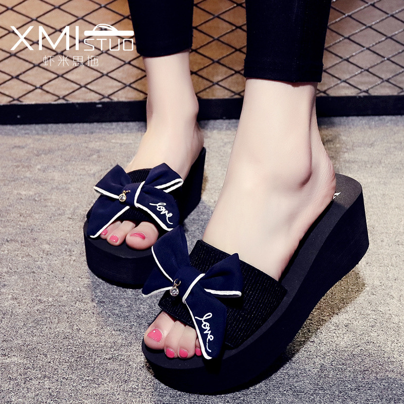 fashion Slippers women Cloth surface Bow tie Word Female High heel Non-slip Casual Outer wear Thick bottom Beach shoes woman