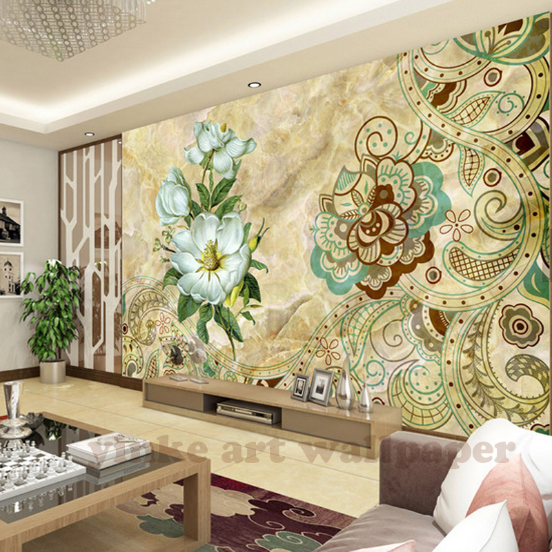 Custom Photo Wallpaper marble retro orchids 3D Wallpaper Wall Mural ...