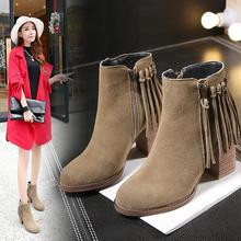 Women Genuine Leather Square Heels High Heels Boots Short Plush Thick Warm Ankle Boots Fringe Fashion Lady Martin Boots 20161231