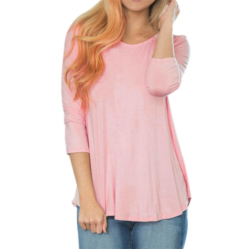 Hot Fashion T-shirt Women Long Sleeve Back Hollow Out  Loose Tops Solid Casual Pink Colors Women T Shirt cotton tee #TH