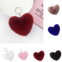 Heart Shape Hair Pendant Handbag Decor Keychain Key Buckle Ring Shoulder Bag Hanging Ornaments