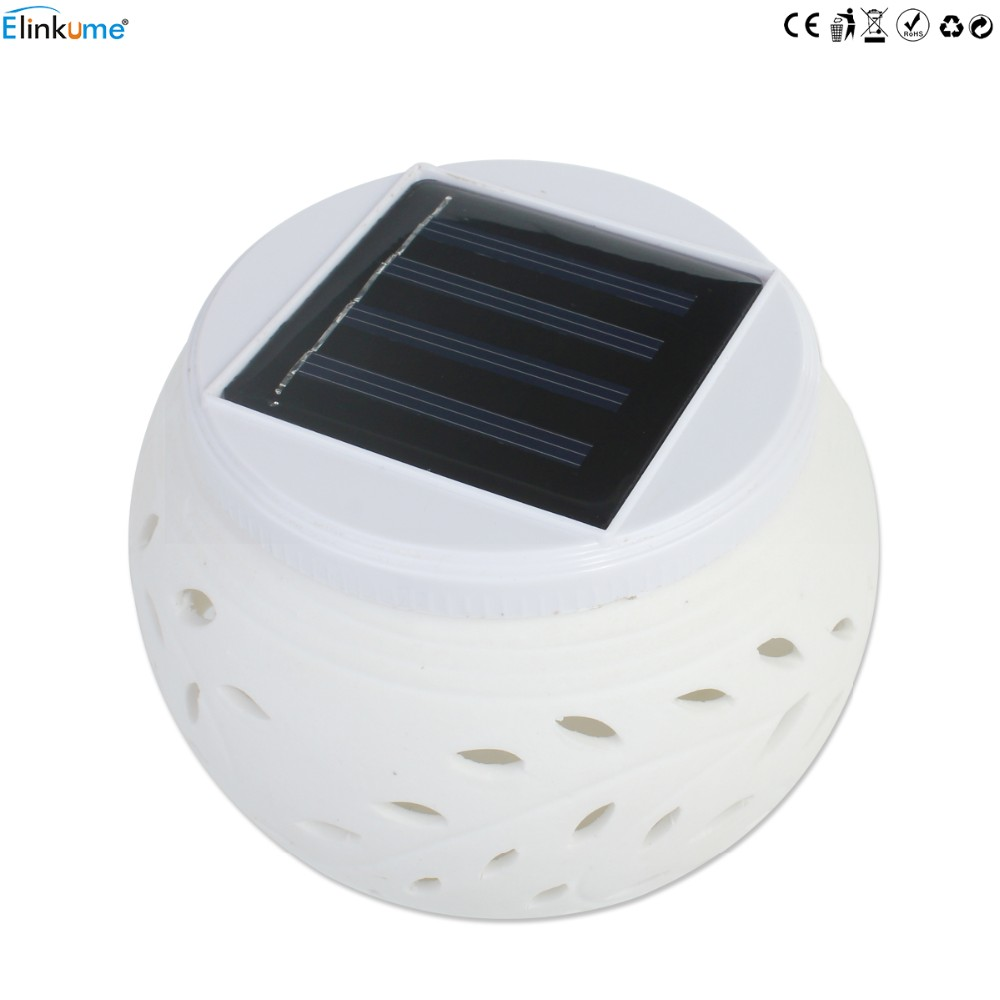 Elinkume Romantic Design Changing Colour Ceramic LED Solar Lamp IP44 waterproof Sun Powered Table Garden Round Light Sun Light 11