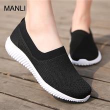 MANLI 2018 Summer Light Walking Shoes Slip-On Platform Flats Female Breathable Zapatillas Slipony Women Shoes Zapatillas Mujer