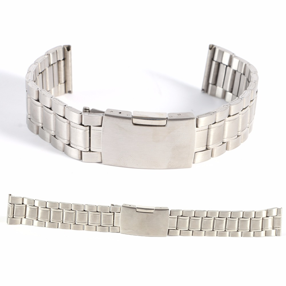 Leisure Watchbands Stainless Steel Watch Band Strap Straight Snaps Bracelet 18mm 20mm 22mm high quality black watchbands straight end stainless steel watch strap bracelet men 18mm 19mm 20mm 21mm common watch accessories