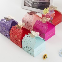 100Pcs Paper Candy Box Hollow Butterfly European Style Gift Boxes Wedding Favors Cute Personality Chocolate Box