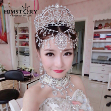 Luxury Bridal Wedding Rhinestone Tiara Crown Tassel Hair Accessories Jewelry Brazilian