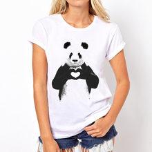 d8b578ea003ae4 Topjini Watercolor painting Cat Panda Print White T shirts Women New Fashion  Short Sleeve O-neck T-shirt elephants Tops