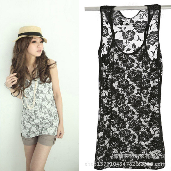 bd99fadc8 WB078 Women's Lace Tank Top,Sheer Floral Lace Sleeveless t shirt for Women,  black white color Vest Tops