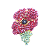 2015 British Remembrance Day commemorative high-grade jewelry brooch crystal deformation poppy flower brooch