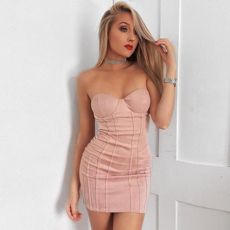Robe Nouvelles Indressme Sexy De D'été Outre Sans Femmes 2019 L'épaule Bretelles Pink Gaine Manches Club 29DHIE
