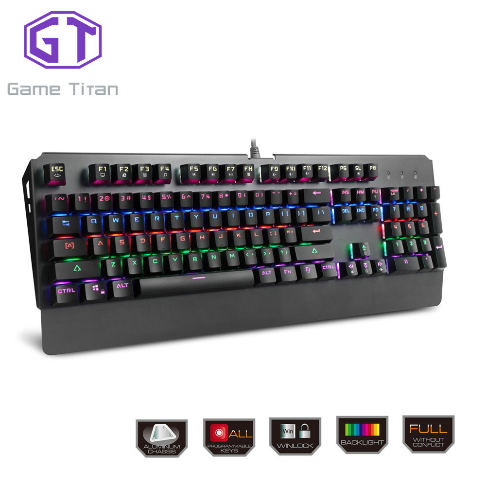 Delux Gaming Mechanical Keyboards 104 standard programmable keys Wired RGB Rainbow LED backlight Keypad For Game Player warwolf wired mechanical keyboard 104 keys gaming for computer games mechanical feel with 7 colorful rainbow backlight