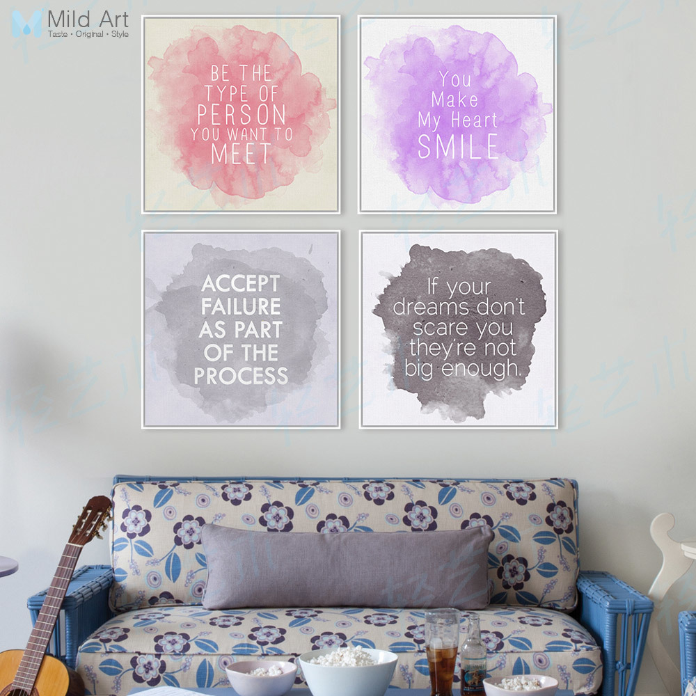 4 Modern Watercolor Inspirational Quotes Typography Pink Purple Poster Prints Hipster Hippie Canvas Painting Home Wall Art Gifts