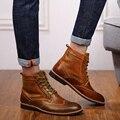 39-45 Botas de Inverno Botas Quentes Sapatos de Inverno Dos Homens Dos Homens Do Vintage Botas de Inverno de Couro Brogues Homens Sapatos De Pele de Pelúcia Plus Size US11