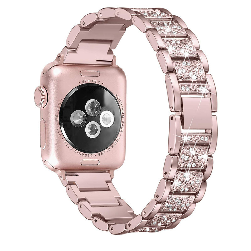 Stainless Steel Bling Bracelet Band For Apple Watch 5 Bands 40mm 44mm Diamond Strap For Apple Watch 38mm 42mm Series 4/ 3/2/1