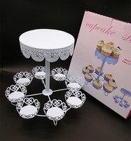 2016 Vintage encaje de la boda soporte de la magdalena de la torta decoración de la bandeja de pastel Muffin cupcake postre sostenedor de la exhibición