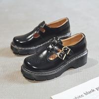 QPFJQD Japanese Literary Retro Lolita Women Pumps Mary Janes Shoes Round Toe Student Girl Platform T Strap Buckle Bullock Shoes