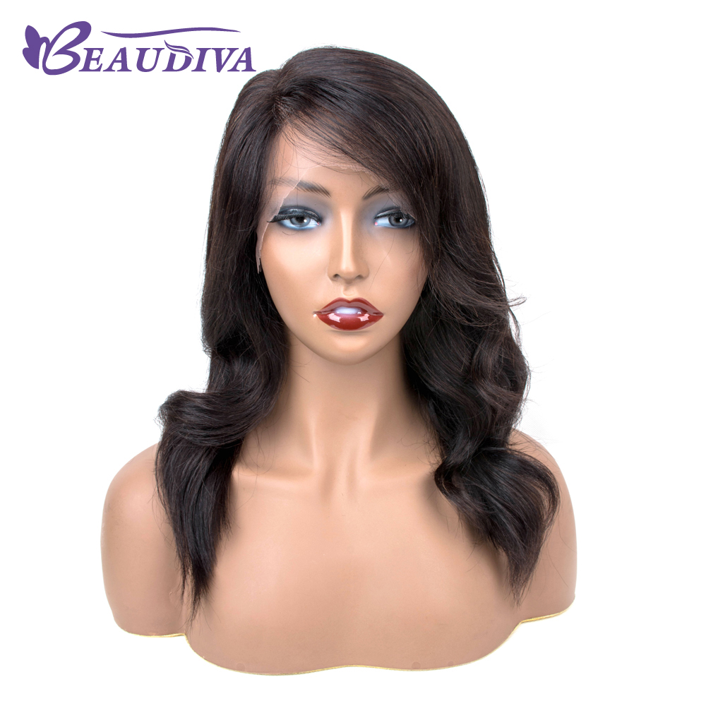 BEAUDIVA Natural Wavy Bob Wigs Hairline Lace Human Hair Wigs For Black Women Side Part Peruvian Remy Hair Wigs With Baby Hair