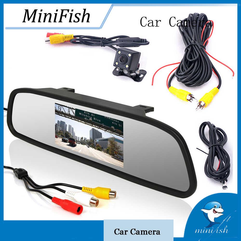 Kaca Spion Mobil Monitor 4.3 Inch HD LCD Belakang Cermin Display dengan Backup Reverse Kamera
