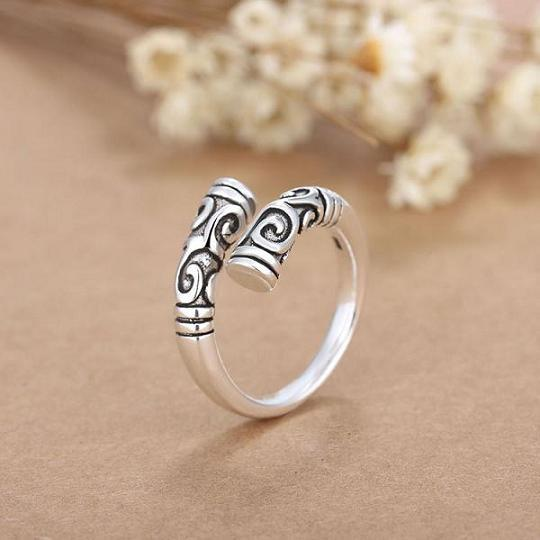 QCOOLJLY new silver Color ring restoring ancient ways is popular men and women high-grade iron ring Great opening ring tail ring