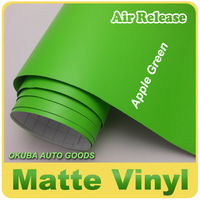 High Quality Apple Green Stretch Matte Vinyl Car Wrap Film With Air Bubble Free Size:1.52*30m