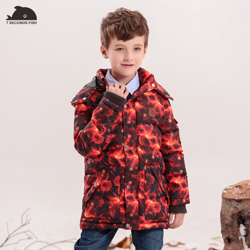 2018 Baby Boys Winter Coats And Jackets Geometric Printing White Duck Down Thicken Parkas Hooded Children Clothes Kids Clothing