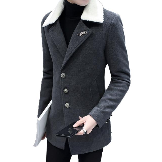 Ternos Jaquetas Casuais dos homens 2017 Novos Homens Longos De Lã Blazer Single-breasted Terno Fino Casaco de Roupas Masculinas Da Marca