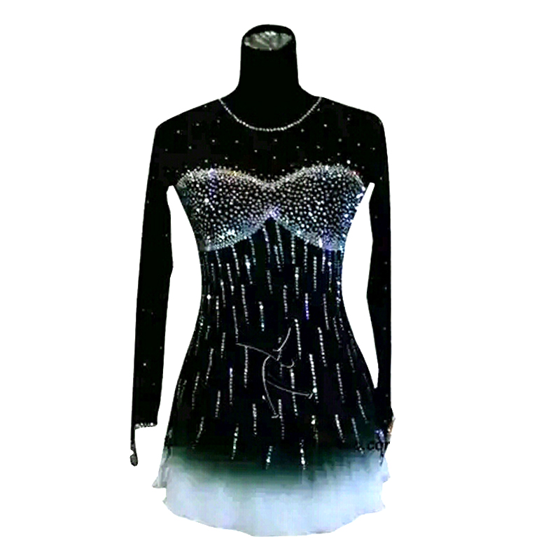 Customized Costume Ice Figure Skating Gymnastics Dress Competition Adult Child Girl Skirt Performance Black Rhinestone customized costume ice figure skating gymnastics dress competition adult child girl pink skirt performance fold off shoulder