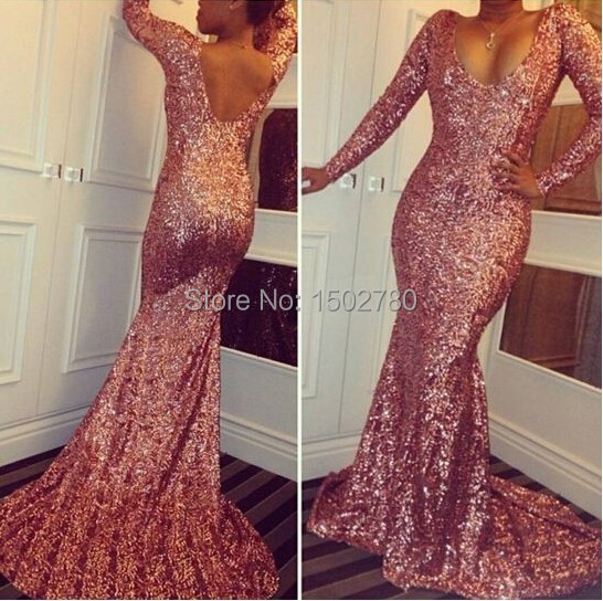 0b9b867e10 US $119.0  Copper Dress Plunging Neckline Long Sleeve Sequins Floor Length  Long Fitted Mermaid Sparkly Glitter Prom Dress 2015-in Prom Dresses from ...