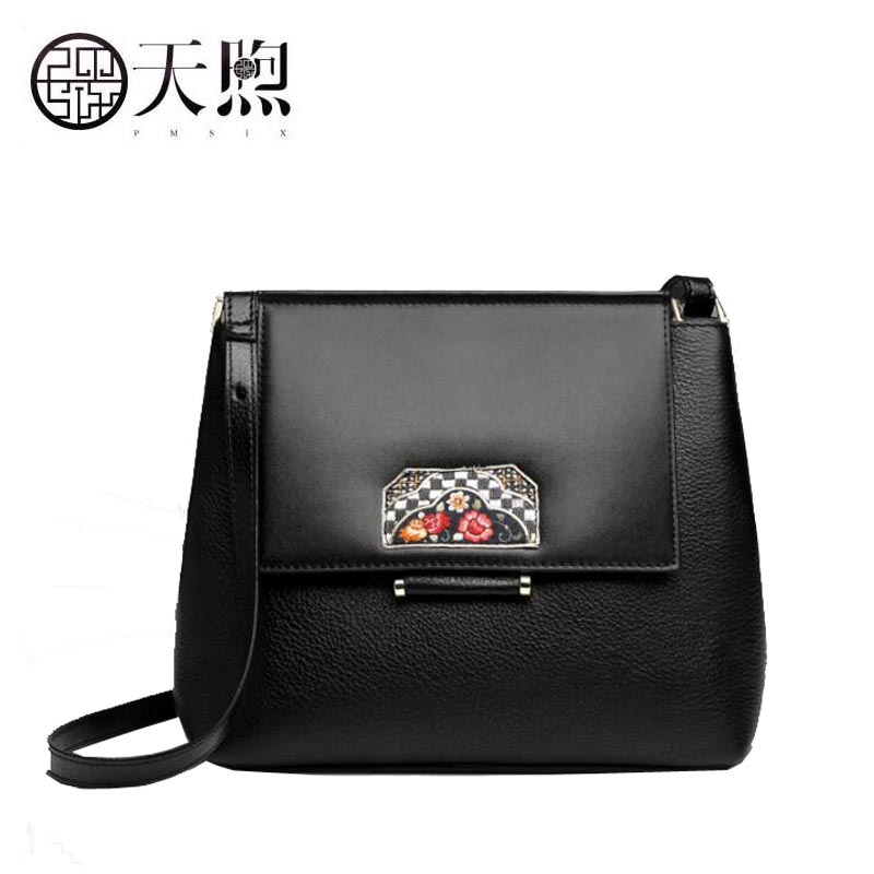 TMSIX 2018 New women genuine leather bags top Cowhide bag women shoulder bag fashion designer Flowers handbags Crossbody bags genuine leather fashion women handbags bucket tote crossbody bags embossing flowers cowhide lady messenger shoulder bags