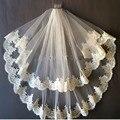 Véus de noiva Borda Do Laço Duas Camadas Véu Do Casamento com Pente Livre Comprimento Da Cintura Tule Marfim/Branco 2016 Acessórios De Noiva