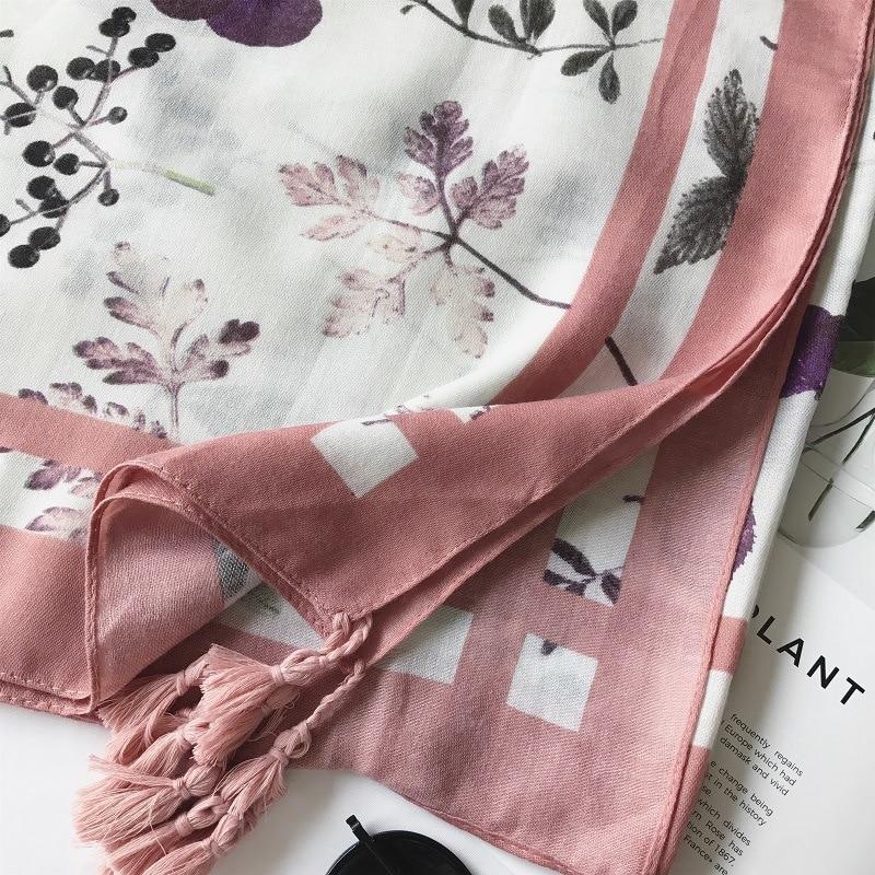 2018 Ladies Fashion Garden Polka Floral Tassel Viscose Scarf Warm Thick Wraps And Shawls Foulard Muslim Hijab Sjaal 180*100Cm