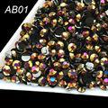 1000 unids/pack Jalea resina AB 3mm Plana negro Láser de oro rosa de cristal Rhinestone del arte del clavo, teléfonos móviles belleza AB01
