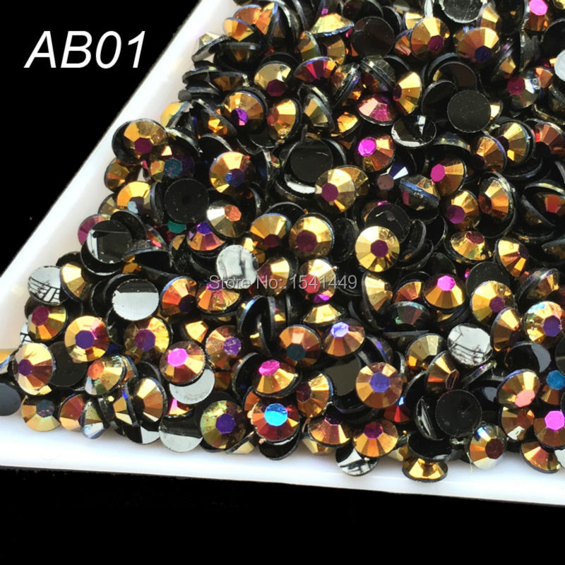 1000pcs/pack Jelly resin AB 3 mm black Flat Laser gold rose crystal Rhinestone nail art, mobile phones beauty AB01