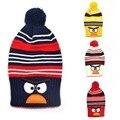 Los niños de Invierno Raya Beanie Bebé hizo punto el animal lindo diseño de aves sombreros Niños personaje de dibujos animados sombrero Niños niñas gorros Calientes 1 unid H526