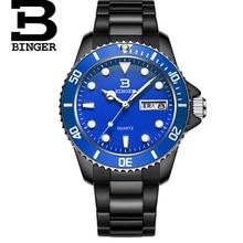 Швейцария Часы Бингер Люксовый Бренд Мужчин Кварцевый Светящиеся Часы Мода Спорт Стальной Ленты Наручные Часы Relógio Masculino