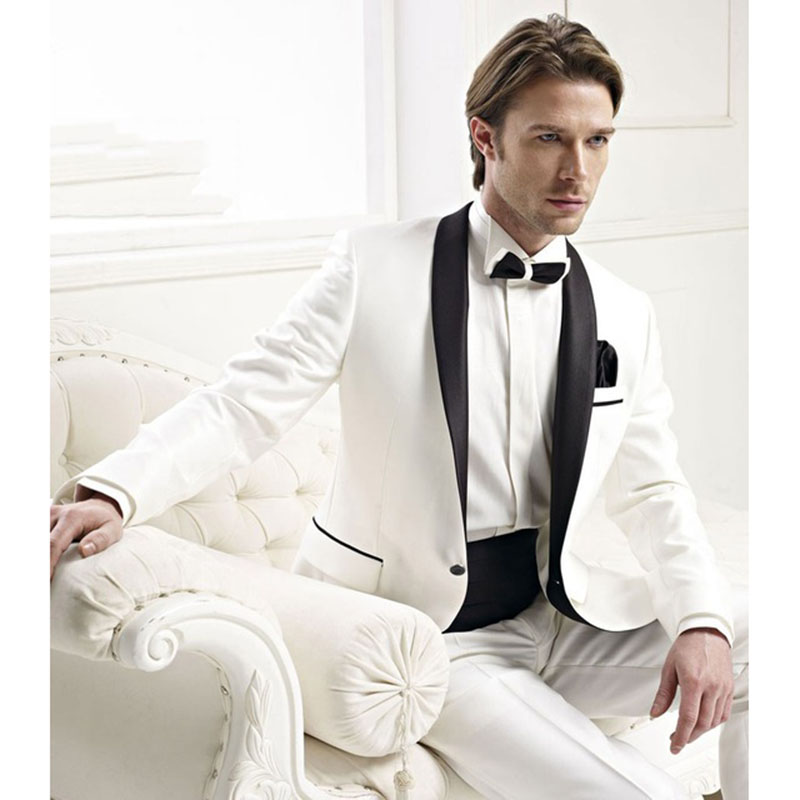 Custom Made Groomsmen Shawl Black Lapel Groom Tuxedos Ivory Mens Suits Wedding Best Men Suit (Jacket+Pants+Tie+Girdle)