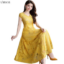 ee0dd164115 LXUNYI Summer Women Lace Dress Plus Size Korean Fashionable V-Neck Slim  Ladies Dresses 2019