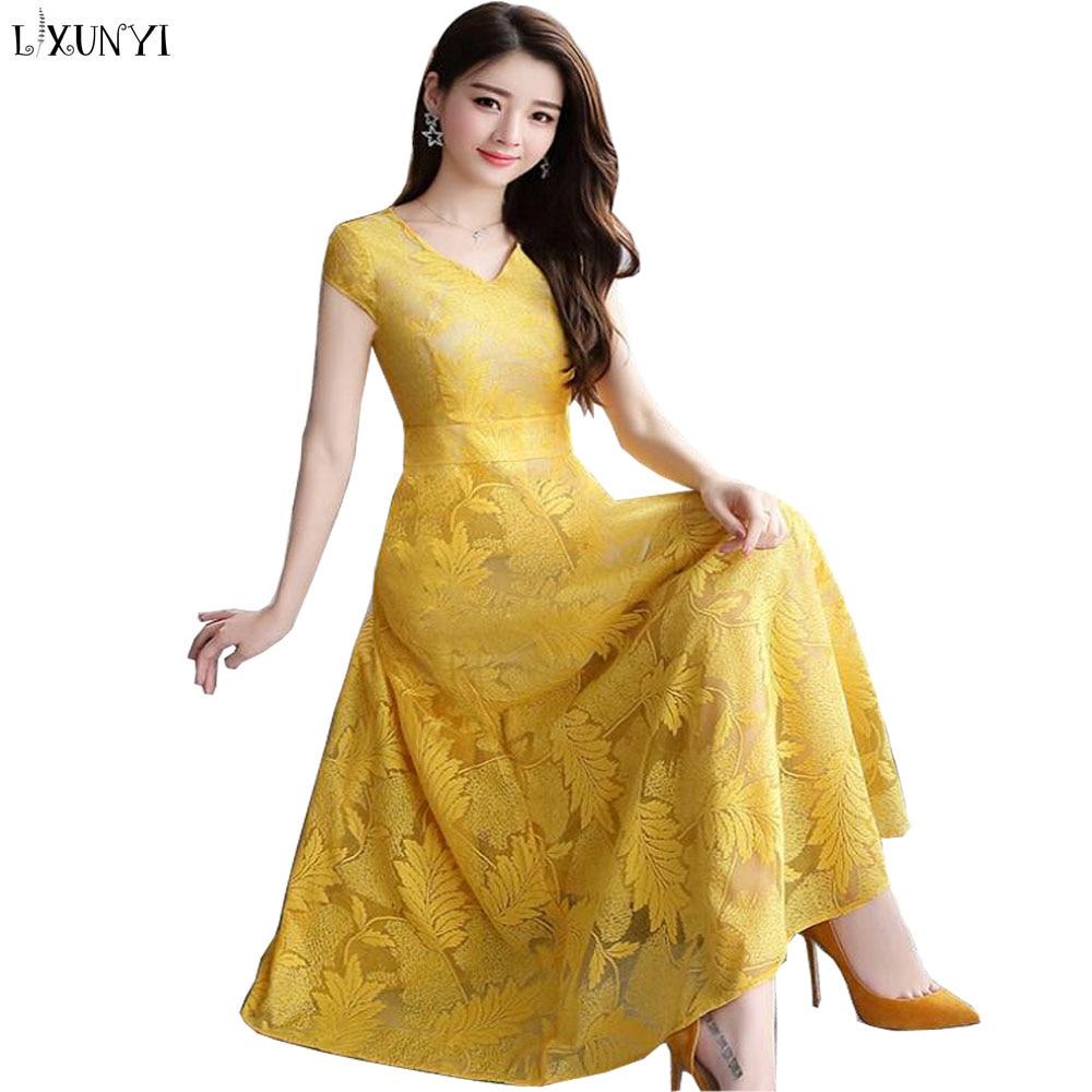 LXUNYI Summer Women Lace Dress Plus Size Korean Fashionable V Neck Slim Ladies Dresses 2019 Embroider Elegant Dress Long Yellow