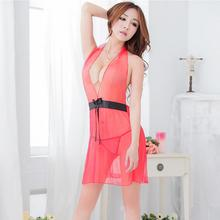 Free Shipping Summer Hot Selling Halter Style Pajamas Transparent Chiffon Nightdress Two Colors Sexy Tulle Adult Sex Dress 40212