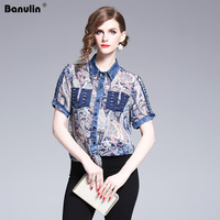New 2019 Summer Vintage printed Shirt Women's Short sleeve Casual blouse High Qulity Blouse Fashion Designer Runway Tops